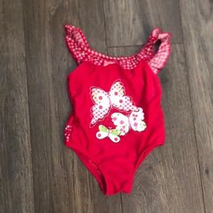 Baby red bathing suit size 0-6 months